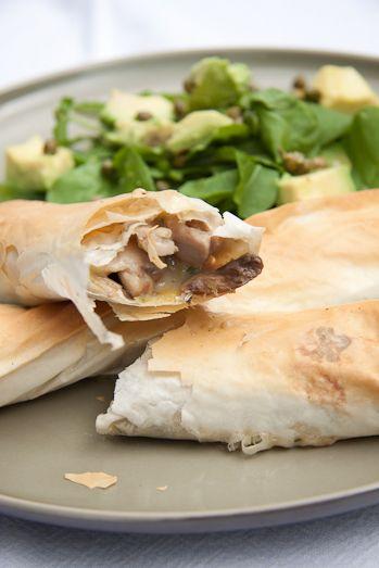chicken mushroom leek phyllo rolls
