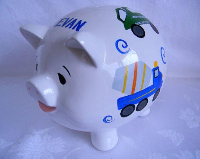 Piggy bank with trucks,Personalized Piggy bank, painted piggy bank,childrens piggy bank,bold colors,nursery decor