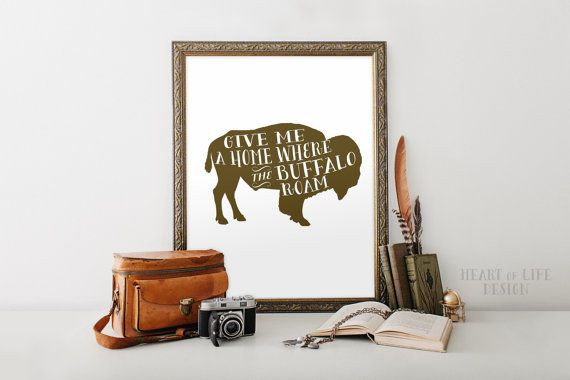 Instant buffalo print Brown buffalo art Western nursery decor Toddler room wall art Give me a home where the buffalo roam Buffalo silhouette