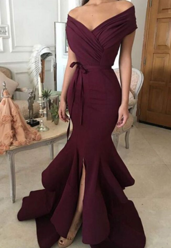 Unique Mermaid Off-The-Shoulder Burgundy Long Prom Dress