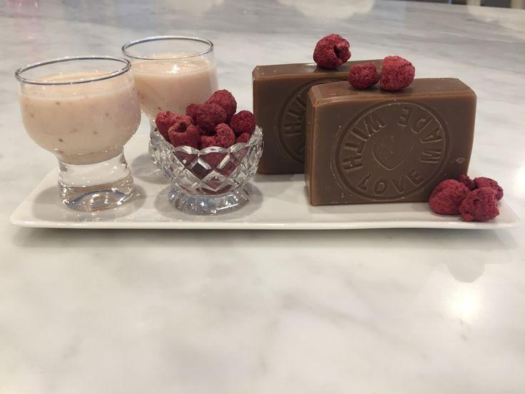 Raspberry Cream natural soap.