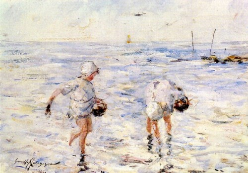 Gathering Shells At The Beach: Beaches, Gathering Shells, Hutchinson Robert, Classic Paintings, At The Beach, Beach Robert, Gemmell Gathering