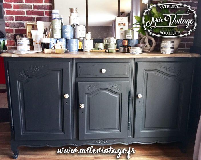 buffet bas relook autentico vintage chalk paint by mlle vintage atelier boutique relookeuse. Black Bedroom Furniture Sets. Home Design Ideas