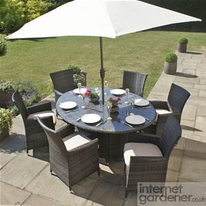 maze rattan la oval 6 seat rattan garden furniture set