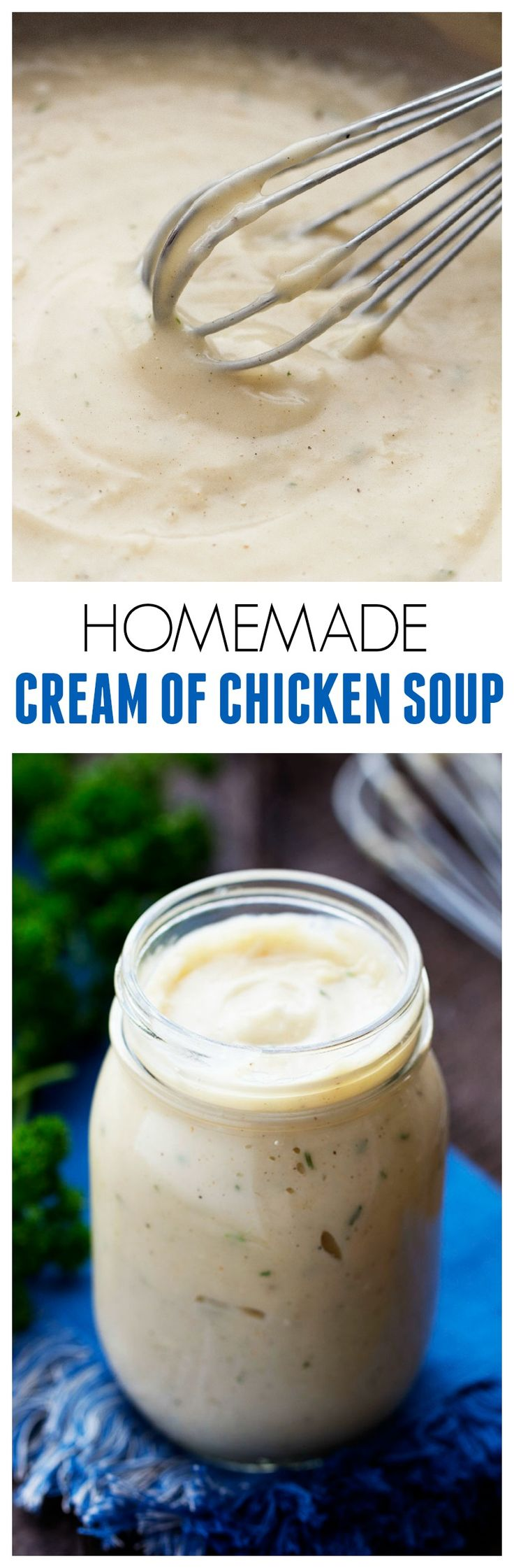 A delicious homemade version of condensed cream of chicken soup! It takes only minutes to whisk up and is such a better alternative!