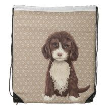 Beautiful Labradoodle Dog Paw Drawstring Backpack