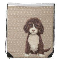 Beautiful Labradoodle Dog Paw Drawstring Backpack