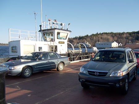 The LaHave ferry crosses the LaHave River near the river's mouth. It runs on a cable that lies 60 ft down