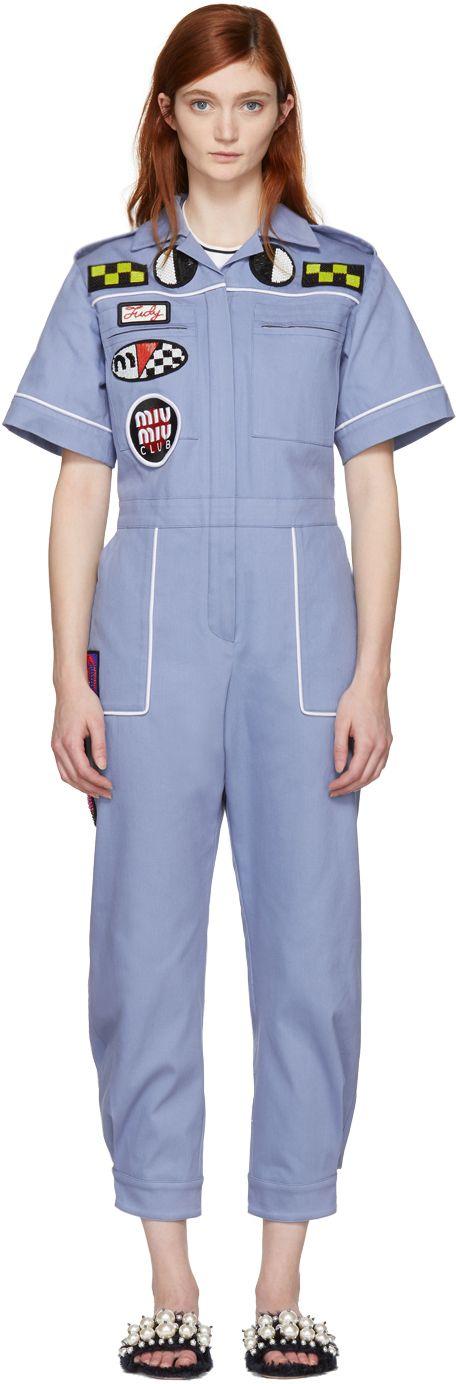 Miu Miu - Blue Denim Mechanic Jumpsuit