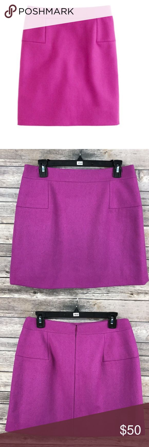 J. Crew Fuchsia Classic Felted Wool Mini Skirt 8 J. Crew Women's Bright Fuchsia Classic Felted Wool Mini Skirt Size 8 Waist is about 15 inches. Length is about 16.5 inches.  SKU-450 J. Crew Skirts Mini