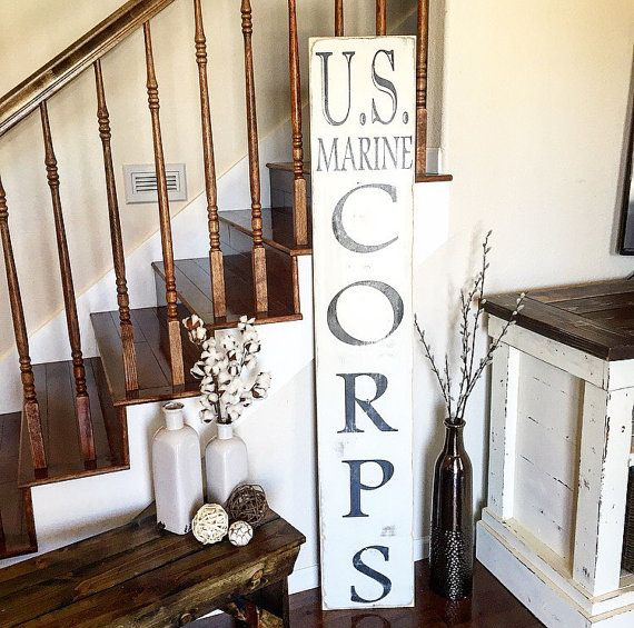 U.S. Marine Corps Vertical Distressed Sign by ShopSimplyInspired