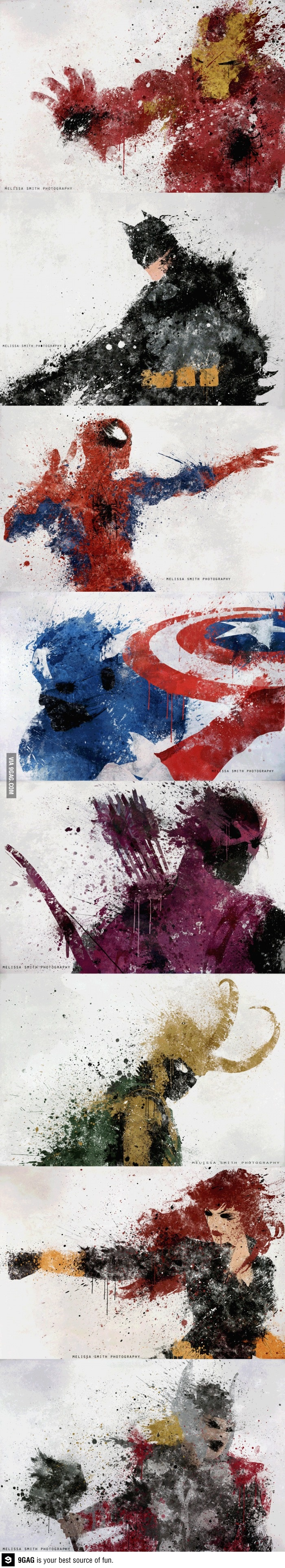 Splatters, you say? Pretty awesome. And yes there are some DC characters on the Avenger board now. Get over it.