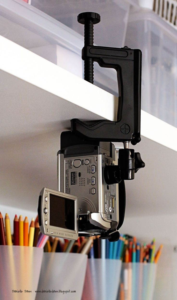 instead of a tripod, this pinner mounted a camera above her workspace so she can film video tutorials