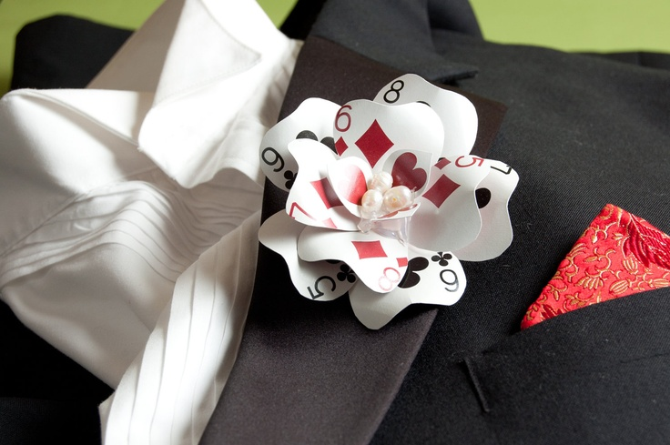 Poker party boutonniere or corsage - wonder if I coud make these?