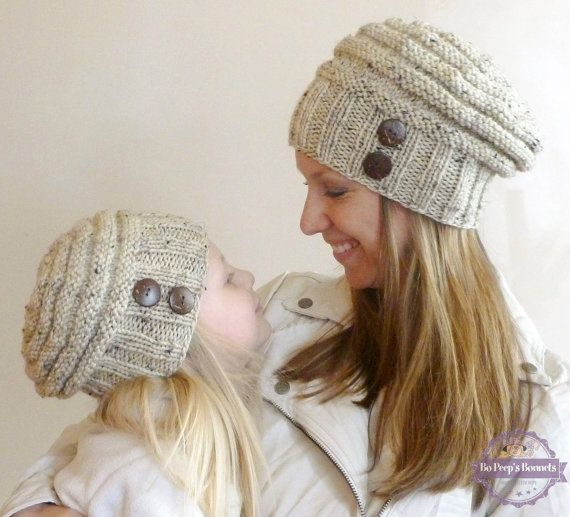 Mommy and Me Matching Hand Knit Slouch Hats with Coconut Buttons, Knit Toddler Hat, Knit Kids Hat, Knit Women's Hat Baby Girl Photo Prop