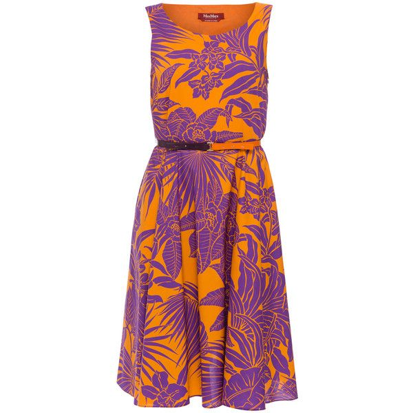 MaxMara Studio Detroit Purple And Orange Printed Cotton Dress ($495) ❤ liked on Polyvore featuring dresses, prints, orange cocktail dress, cocktail dresses, orange evening dresses, orange print dress and pattern dress