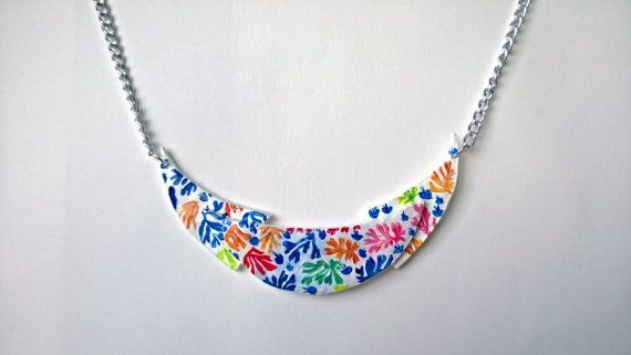 Hand Painted Bib Necklace Pendant Abstract Art by PeculiarBoutique