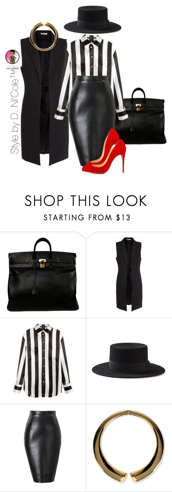 Untitled #2905 by stylebydnicole on Polyvore featuring H&M, Pieces, Yves Saint Laurent, Christian Louboutin, Hermès, Giuseppe Zanotti, women's clothing, women's fashion, women and female