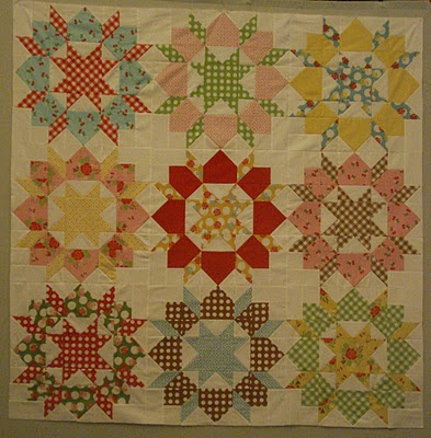 """Lori said this pattern is called """"Swoon: and she wasn't kidding.......the same fabric as my grandma's apron quilt...."""