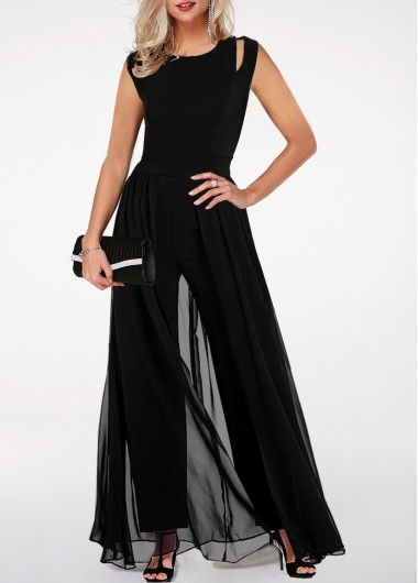 Ruffle Overlay Black Strapless Excessive Waist Jumpsuit | liligal.com – USD $34.09