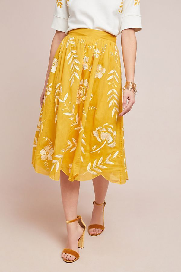 Vineland Embroidered Midi Skirt