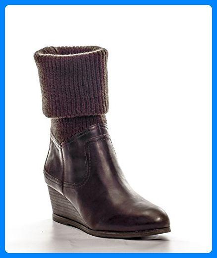 Marc O'Polo Damen Stiefel Glattleder Modischer Schnuh Unifarben, Größe: 5 1/2, Farbe: Braun - Stiefel für frauen (*Partner-Link)
