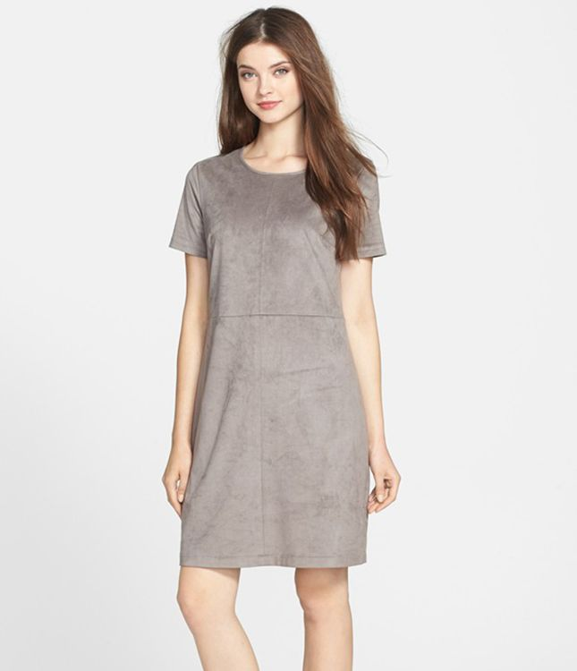 Spring 2015 Trend to Try: How to Wear Suede from Head to Toe via Brit + Co. Vince Camuto Short-Sleeve, Faux-Suede Dress ($149): Instantly elevate your work wardrobe by throwing this faux-suede shift into the mix. Wear it with a simple pair of pumps and layered necklaces for a look that will take you from your desk to drinks with the girls.