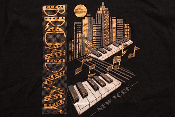 Broadway New York Copper Foil T-Shirt, NYC Graphic Tee, Vintage 1980s-1990s, Piano Keys, Musical, Jazz Music, NY Nightlife, Instrument