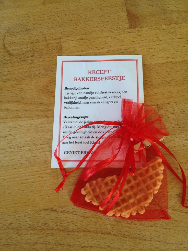 Uitnodiging bakkersfeestje/ bakfeestje. Overige details (datum, tijd e.d) op de achterkant van het 'recept'