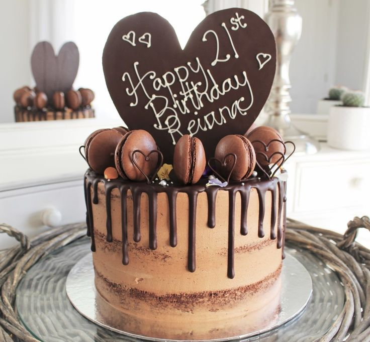 Choco Chocolate drizzle cake with chocolate macarons and a heart shard