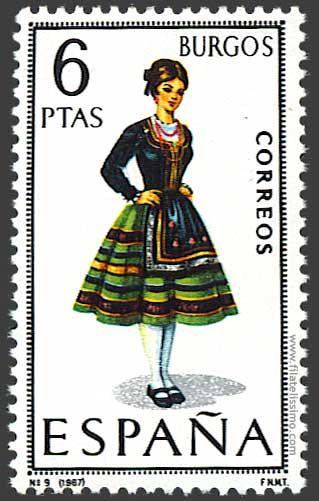 Trajes regionales españoles en sellos BURGOS