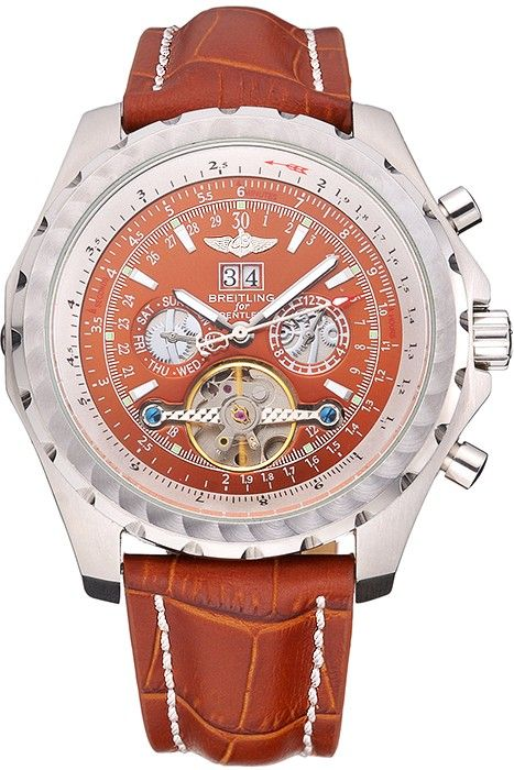 Breitling Bentley Mulliner Tourbillon Brown Dial Stainless Steel Case Brown Leather Strap