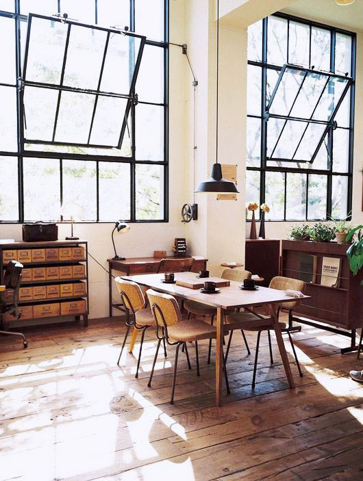 chairs around a rustic modern table in a loft / sfgirlbybay ~Those windows.