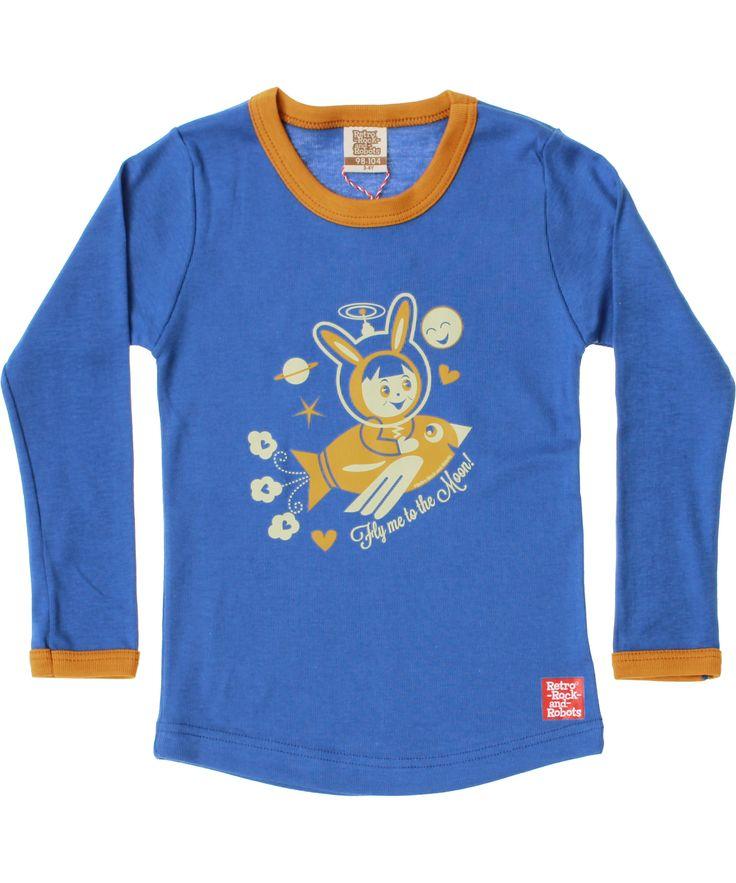 Adorable T-shirt bleu avec petite soucoupe volante par Retro-Rock-and-Robots. retro-rock-and-robots.fr.emilea.be