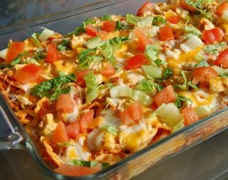 This Dorito Chicken Casserole Looks so Yummy! Many substitutions would be required, but I'm up for the challenge! ~ myfridgefood.com