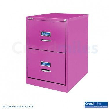 bisley bs classic front 2 drawer filing cabinet in fuchsia pink paint finish