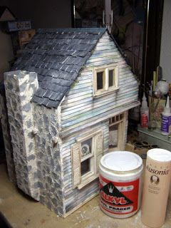 DIY slate tile roof for dollhouse - scroll down for instructions