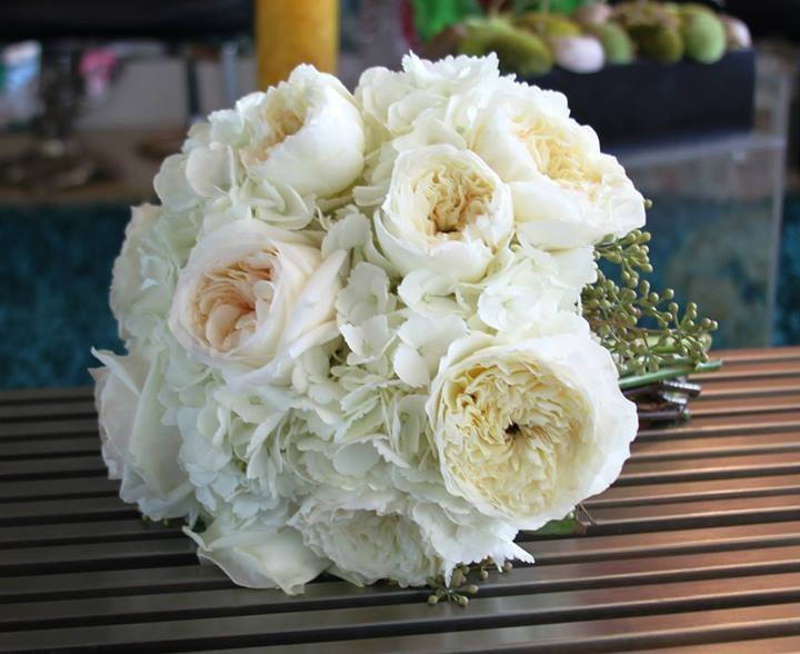 Perfect Bridal Bouquet. White Hydrangeas. Ivory Garden Roses. White Garden Roses.  Hand Tied