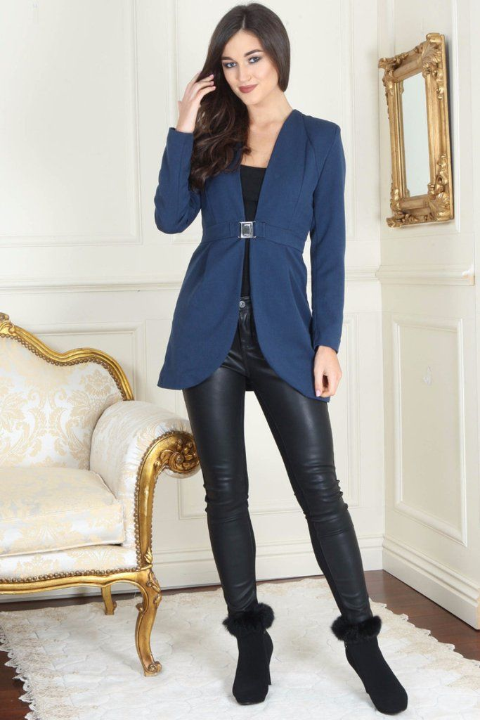 Izzy Diamond Clasp Navy Blue Dress Blazer