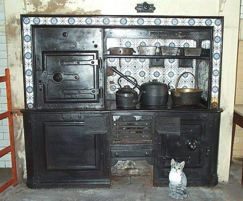 The range cooker in the kitchen at Cragside, the home of the Armstrong family.  Lord Armstrong made his fortune in engineering and his house featured all the best technology of the time.