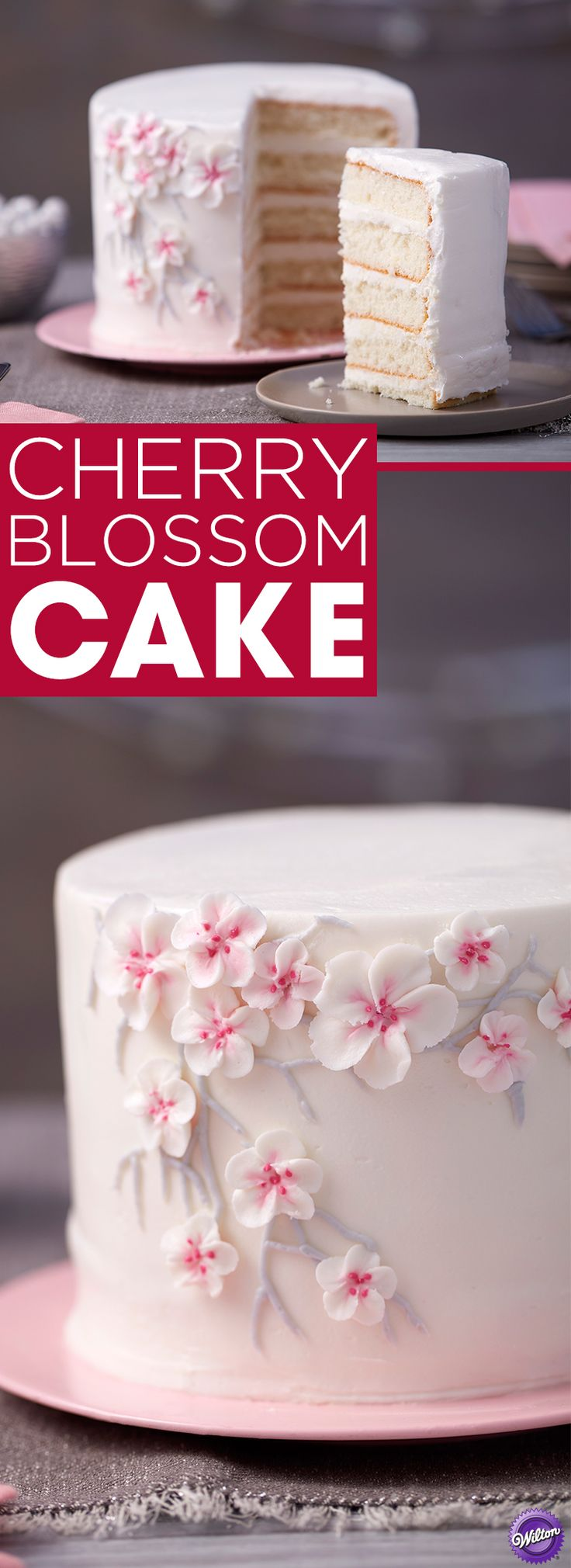Simple and sweet, this Cherry Blossom Cake is the perfect finish to a bridal shower or large dinner party. An eye-catching floral branch makes this subtle cake stand out among the rest, and it's simple enough for beginning decorators as well as those who are more advanced. Use the Wilton Easy Layers Cake Pan Set to easily create all the layers for this cake at one time.