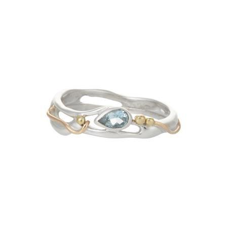 ACHICA | Banyan Teardrop Blue Topaz Ring, Choose Size