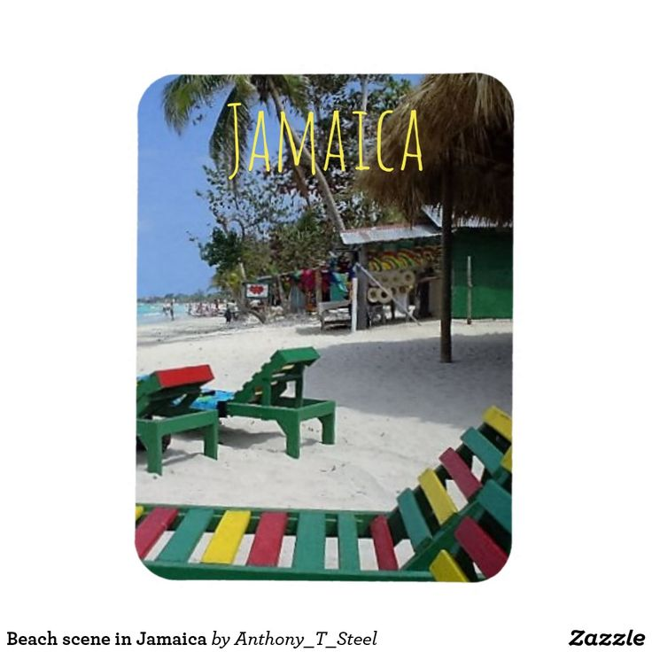 Beach scene in Jamaica Magnet This fridge magnet will remind you of lazy holidays on the beach in Jamaica, with its beach scene of shacks and beach loungers in the green, red and yellow Jamaican colours.