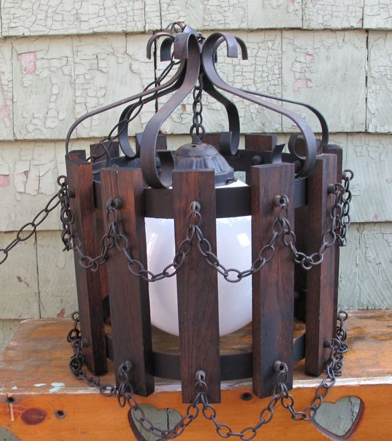 Wrought Iron And Wood Spanish Chandelier By