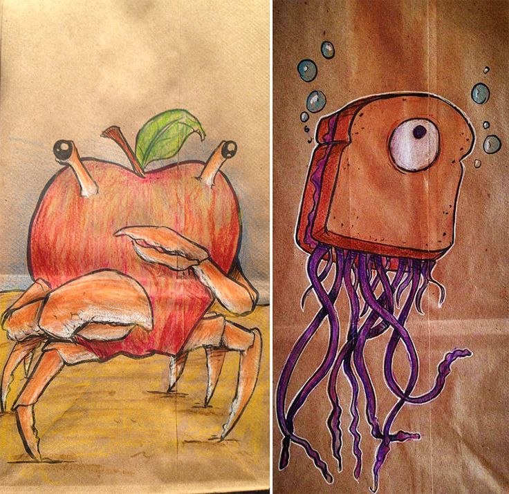 Dad (Bryan Dunn) drew cool cartoon characters on his son's lunch bags everyday for the last 2 years... Now I can't see me drawing them myself, but maybe sending the brown paper bag through the printer ;)