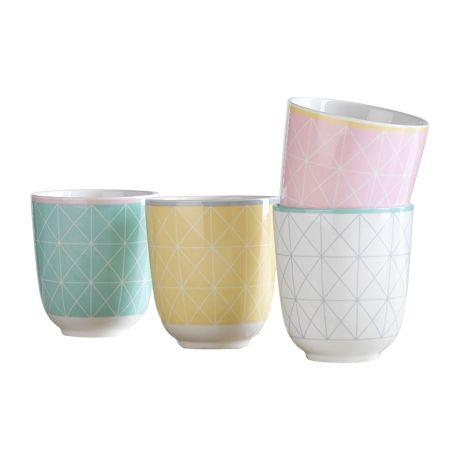 Impressions Herbal Tea Mug Set of 4  Cross Grid