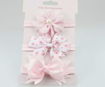 on sale 3pc baby girl boy elastic flower headband children skinny stretchy Bowknot elastic hair Band  Price: 2.18 USD