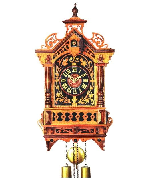 Cuckoo clock from the Black Forest with certificate of authenticity. Railroad house cuckoo clock with 1-day movement from Rombach & Haas, the Black Forest cuckoo clock manufacture.