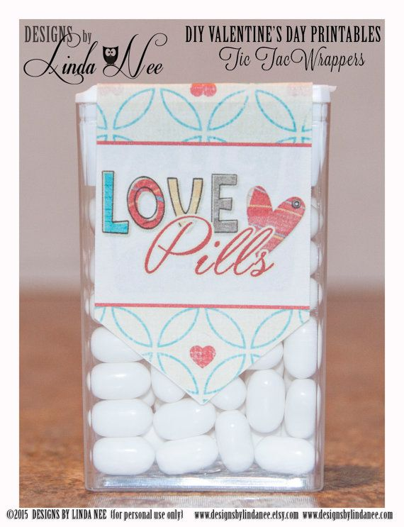 Tic Tac LOVE PILLS - Printable tic tac labels that you attach to a pack of tic tacs! They make perfect Valentines, Anniversary or gifts for your special someone! Happy Valentine's Day!