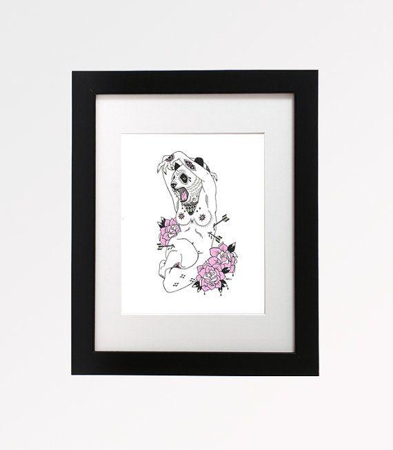 Panda.  Original Animal Head Pen and Ink Illustration Floral Arrow Art Drawing